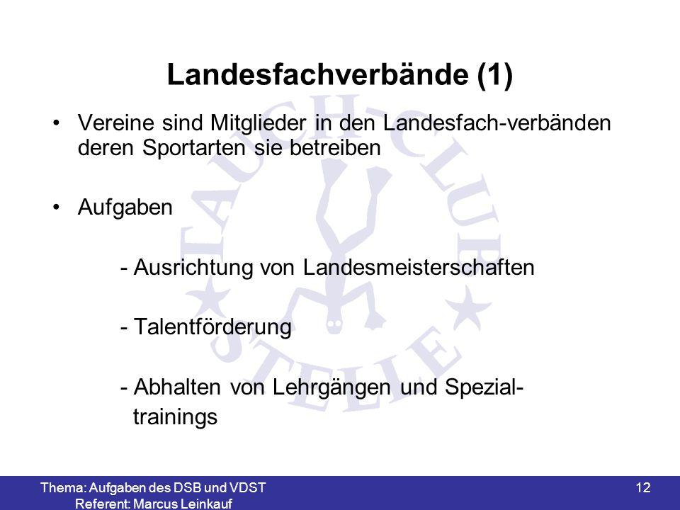 Thema: Aufgaben des DSB und VDST Referent: Marcus Leinkauf 13 Landesfachverbände (2) Aufgaben - Ausbildung von Kampfrichtern - Bereitstellung von Trainern und Ausbildern - Ausbildung von Übungs-, Jugend- und Organisationsleitern