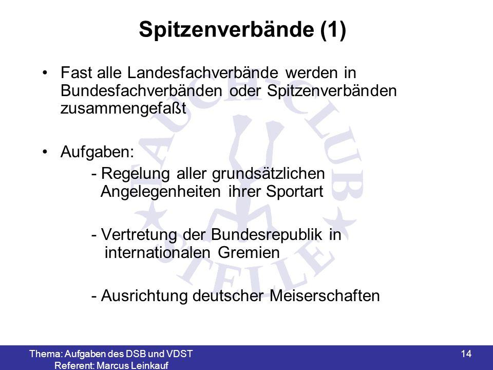Thema: Aufgaben des DSB und VDST Referent: Marcus Leinkauf 15 Spitzenverbände (2) Aufgaben: - Ausrichtung internationaler Meisterschaften (EM, WM) - Verantwortlich für Lehrarbeit (Ausbildungs- richtlinien - Erstellen von Wettkampfregeln