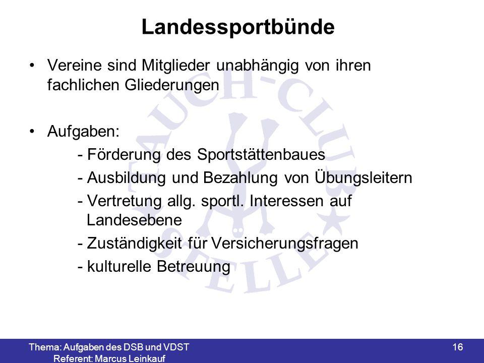 Thema: Aufgaben des DSB und VDST Referent: Marcus Leinkauf 17 Ordentliche Mitgliedsorganisationen 16 Landessportbünde z.B.
