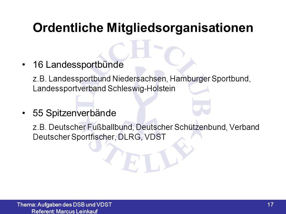 Thema: Aufgaben des DSB und VDST Referent: Marcus Leinkauf 18 Außerordentliche Mitgliedsorganisationen 12 Sportverbände mit besonderer Aufgabenstellung z.B.