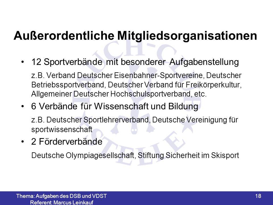 Thema: Aufgaben des DSB und VDST Referent: Marcus Leinkauf 19 Aufgaben des VDST (1) Stellt durch seine Stellung als Spitzenverband das oberste Gremium der Sportart Tauchen dar und fördert die Interessen in Deutschland Regelt alle Angelegenheiten in diesem Sportbereich Vertritt den Tauchsport in der Bundesrepublik und internationalen Gremien Ausrichtung der Deutschen Meisterschaften Ausrichtung der Europameisterschaften (im Namen der CMAS) Verfassung von Ausbildungs-Richtlinien Förderung des Wettkampfsports sowie die Erstellung von Wettkampfregeln