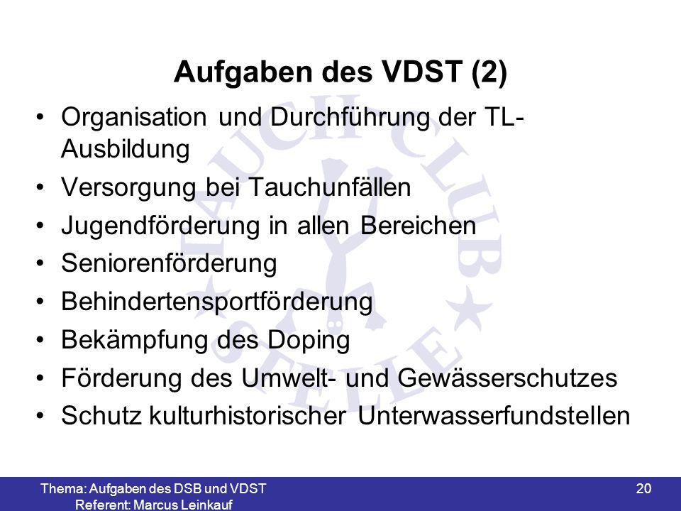 Thema: Aufgaben des DSB und VDST Referent: Marcus Leinkauf 21 VDST (gegr.
