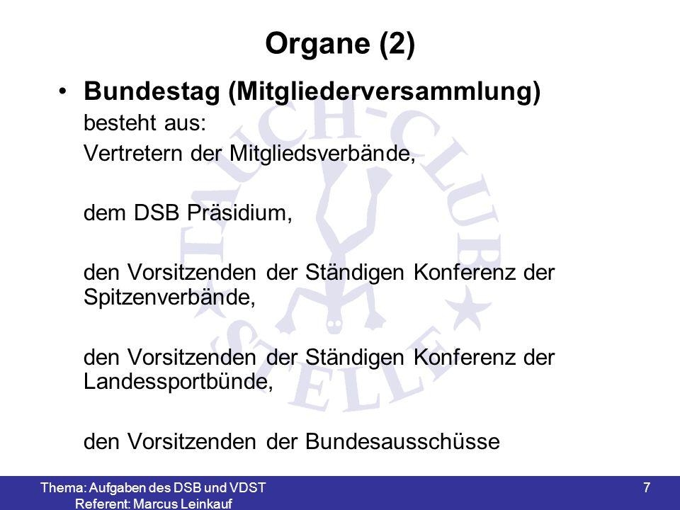 Thema: Aufgaben des DSB und VDST Referent: Marcus Leinkauf 8 Organe (3) Hauptausschuss -obliegt die Beratung über Angelegenheiten von grundsätzlicher Bedeutung, soweit sie nicht dem Bundestag selbst vorbehalten sein sollen -findet in den ungeraden Jahren statt
