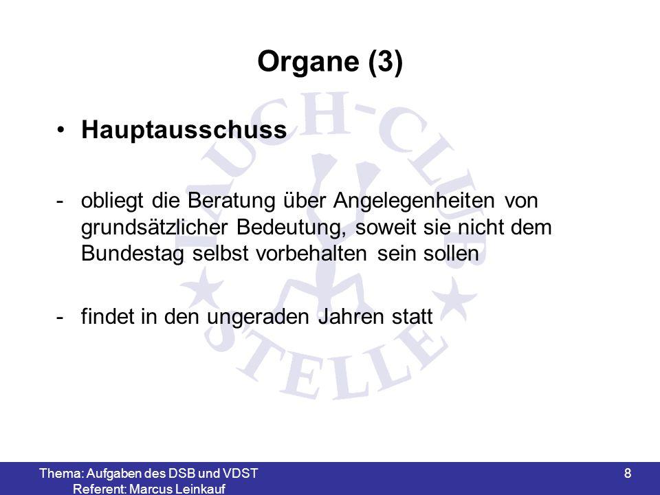 Thema: Aufgaben des DSB und VDST Referent: Marcus Leinkauf 9 Organe (4) Hauptausschuss -besteht aus den gleichen Vertretern wie der Bundestag, wobei der jeweilige Vertreter der Mitgliedsorganisation die stimmen auf sich vereinigt -Die Ständigen Konferenzen bestimmen durch Wahl die Besetzung von Positionen in den Bereichen Leistungs- und Breitensport
