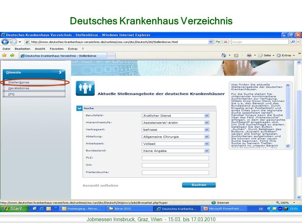 Jobmessen Innsbruck, Graz, Wien - 15.03.