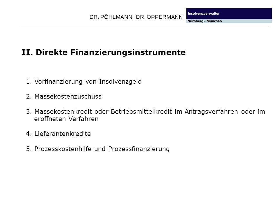 DR.PÖHLMANN · DR. OPPERMANN III. Indirekte Finanzierungsinstrumente 1.