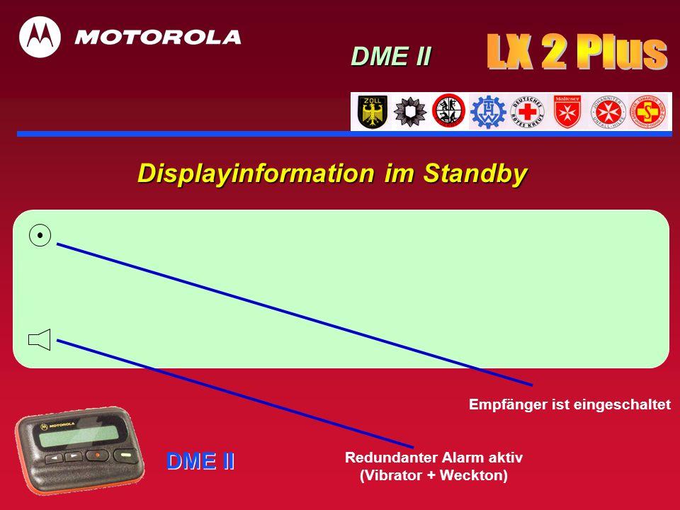 DME II Displayinformation nach der Alarmierung ohne Tastenbetätigung, sofort mit Displaybeleuchtung DME II Textkonserve aus der Unteradresse max.