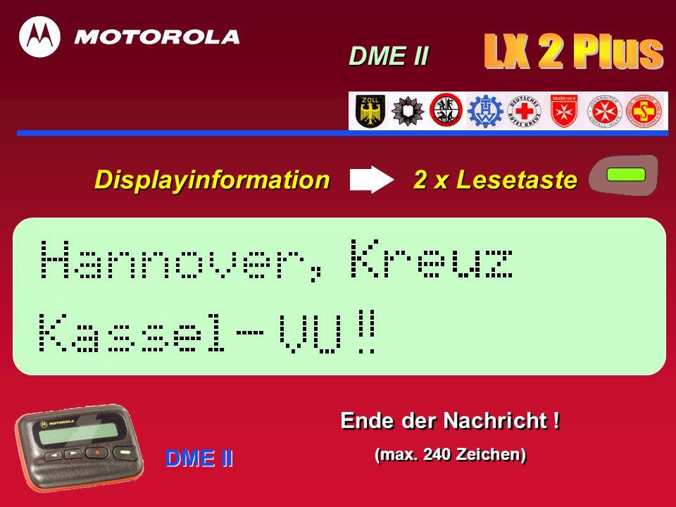 Bei Bedarf: Displayinformation 3 x Lesetaste DME II Uhrzeit (Alarmzeit) mit Datumsinformation!
