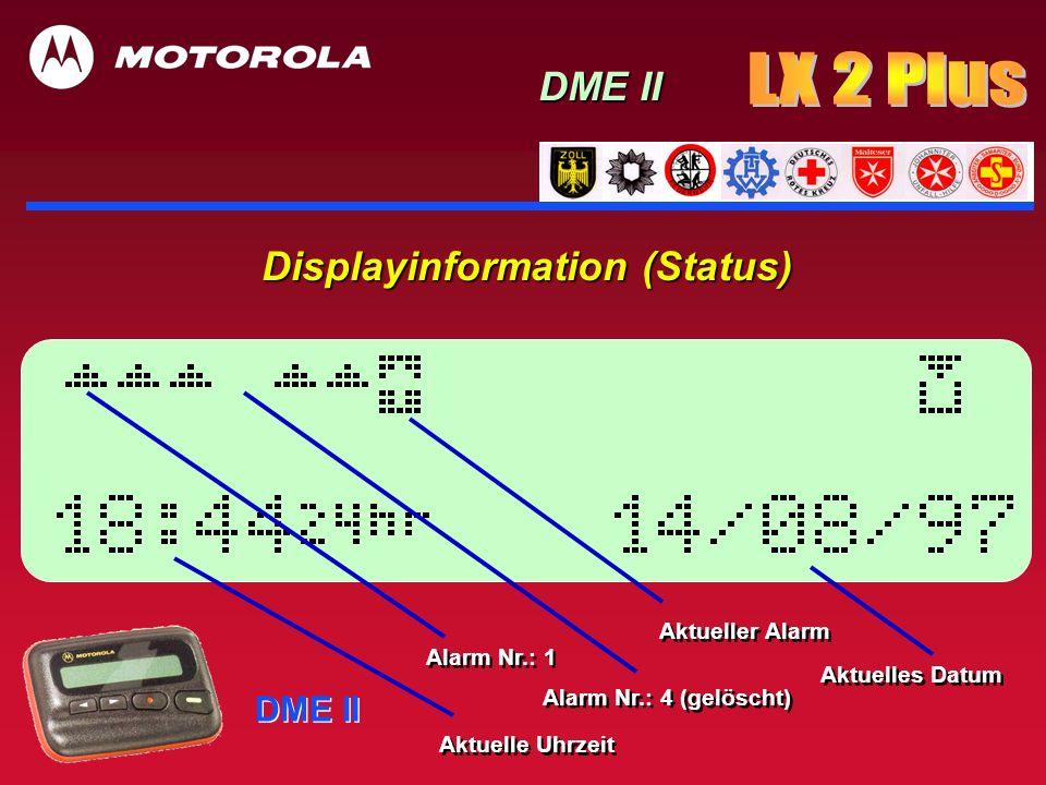 DME II Displayinformation 1 x Wahltaste DME II Jedes der Icons wird im Klartext erklärt z.B.: AUSSCHALTEN Jedes der Icons wird im Klartext erklärt z.B.: AUSSCHALTEN NEU: Lupenfunktion NEU: Benutzerauswahl
