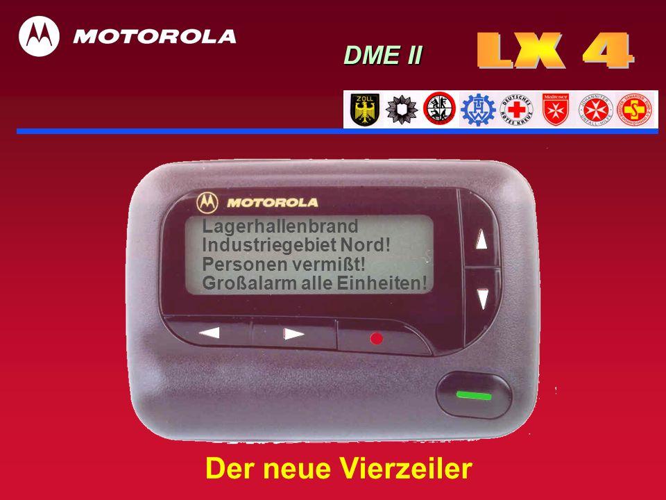 LX 4 n 128 Rufschleifen (32 Haupt- mit je 4 Unteradressen) n Vibrator (diskrete Alarmierung) n redundante Alarmierung (Vibrator und akustischer Alarm) n umschaltbares vier-/dreizeiliges beleuchtbares Display à 20 Zeichen n Hinterlegung von Alarmstichworten je Rufschleife (à 32 Zeichen) n Nachrichtenspeicher für 20 Alarme à 240 Zeichen mit Datum u.
