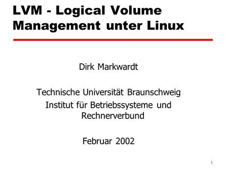 LVM - Logical Volume Management unter Linux