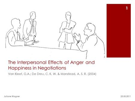 The Interpersonal Effects of Anger and Happiness in Negotiations Van Kleef, G.A.; De Dreu, C. K. W. & Manstead, A. S. R. (2004) 25.05.2011Juliane Wagner.