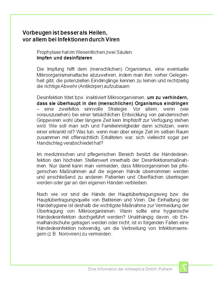 Eine Information der Antiseptica GmbH, Pulheim nach jedem Patienten- bzw.