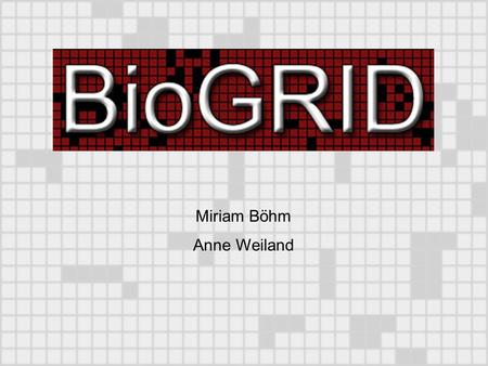 Miriam Böhm Anne Weiland. BioGRID: Biological General Repository for Interaction Datasets beinhaltet Interaktion zwischen Proteinen Was sind Protein-Protein-