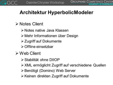 DaimlerChrysler Workshop Architektur HyperbolicModeler  Notes Client  Notes native Java Klassen  Mehr Informationen über Design  Zugriff auf Dokumente.