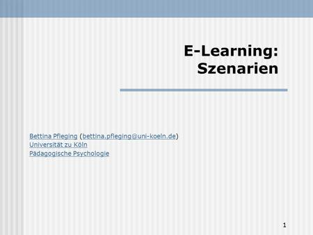 E-Learning: Szenarien