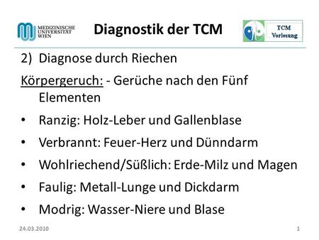 Diagnostik der TCM Diagnose durch Riechen