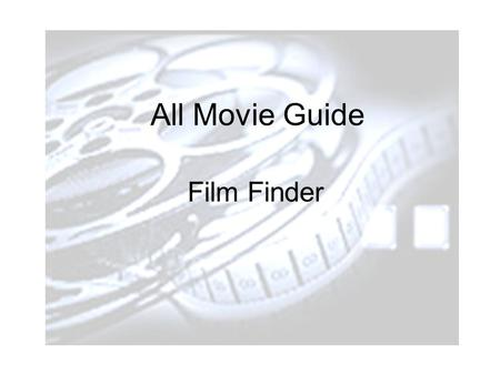 ALL MOVIE GUIDE Film Finder All Movie Guide Film Finder.