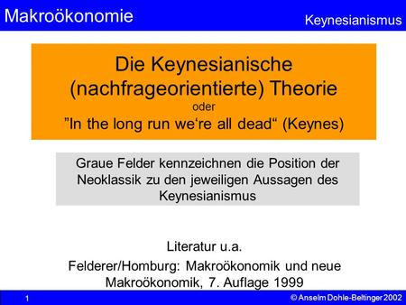 "Makroökonomie Keynesianismus © Anselm Dohle-Beltinger 2002 1 Die Keynesianische (nachfrageorientierte) Theorie oder ""In the long run we're all dead"" (Keynes)"