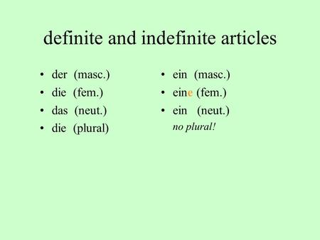 definite and indefinite articles
