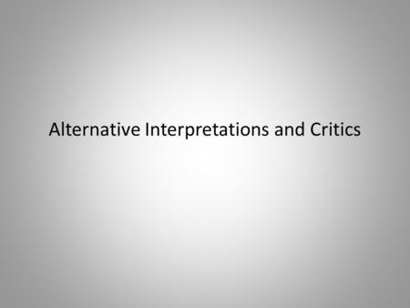 Alternative Interpretations and Critics. Discussion of texts (Prebisch, Lipton, Scott) Presentation on Dependency Theory (Frederic Rothenbusch, Gregor.