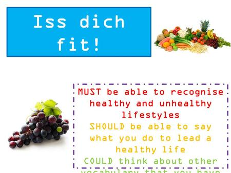 Iss dich fit! MUST be able to recognise healthy and unhealthy lifestyles SHOULD be able to say what you do to lead a healthy life COULD think about other.