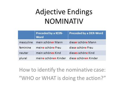 "Adjective Endings NOMINATIV How to identify the nominative case: ""WHO or WHAT is doing the action?"" Preceded by a KEIN- Word Preceded by a DER-Word masculinemein."