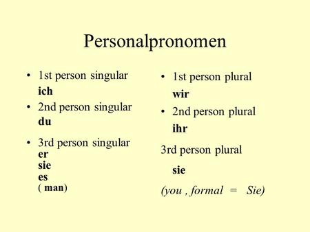 Personalpronomen 1st person singular ich 2nd person singular du 3rd person singular er sie es ( man) 1st person plural wir 2nd person plural ihr 3rd person.