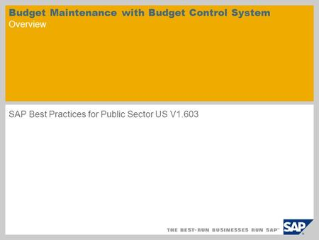 Budget Maintenance with Budget Control System Overview SAP Best Practices for Public Sector US V1.603.