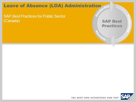 Leave of Absence (LOA) Administration SAP Best Practices for Public Sector (Canada)
