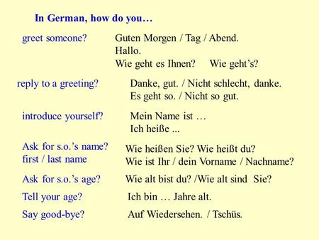 In German, how do you… greet someone? Guten Morgen / Tag / Abend.