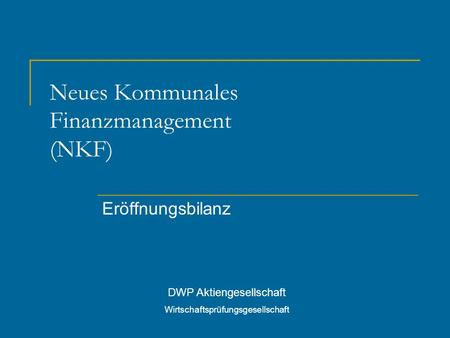 Neues Kommunales Finanzmanagement (NKF)