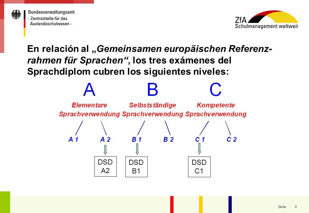 9 Seite: En que año pueden efectuarse los tres niveles del DSD 1° año 2° año 3° año 4° año 5° año 6° año 7° año 8° año 9° año 10° año 11° año 12° año DSD A 2 DSD B 1 DSD C 1