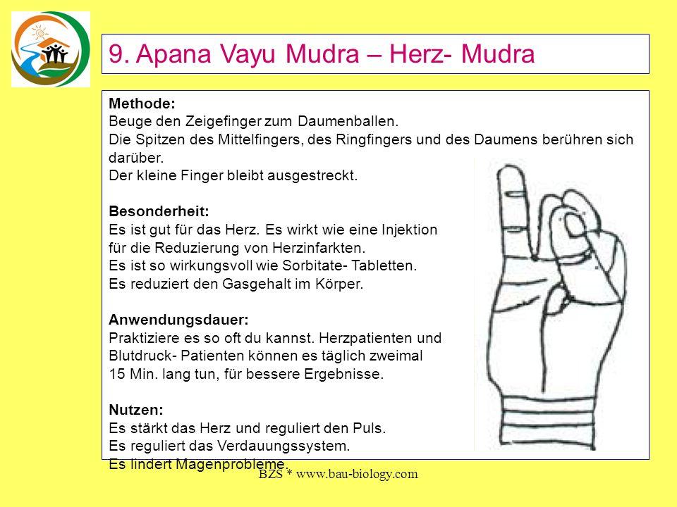 BZS * www.bau-biology.com Methode: Falte die Hände so, dass der linke Daumen hoch steht und von Daumen und Zeigefinger der rechten Hand umfasst wird.