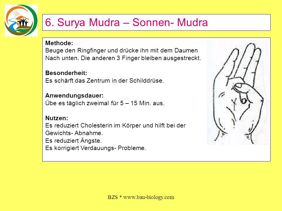 BZS * www.bau-biology.com Methode: Beuge den Ringfinger und den kleinen Finger und berühre die Fingerspitzen mit der Spitze des Daumens.