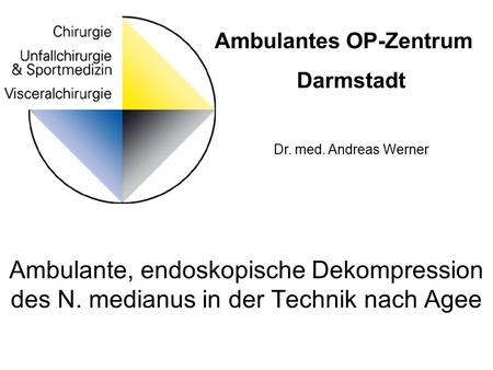 Ambulante, endoskopische Dekompression des N. medianus in der Technik nach Agee Ambulantes OP-Zentrum Darmstadt Dr. med. Andreas Werner.