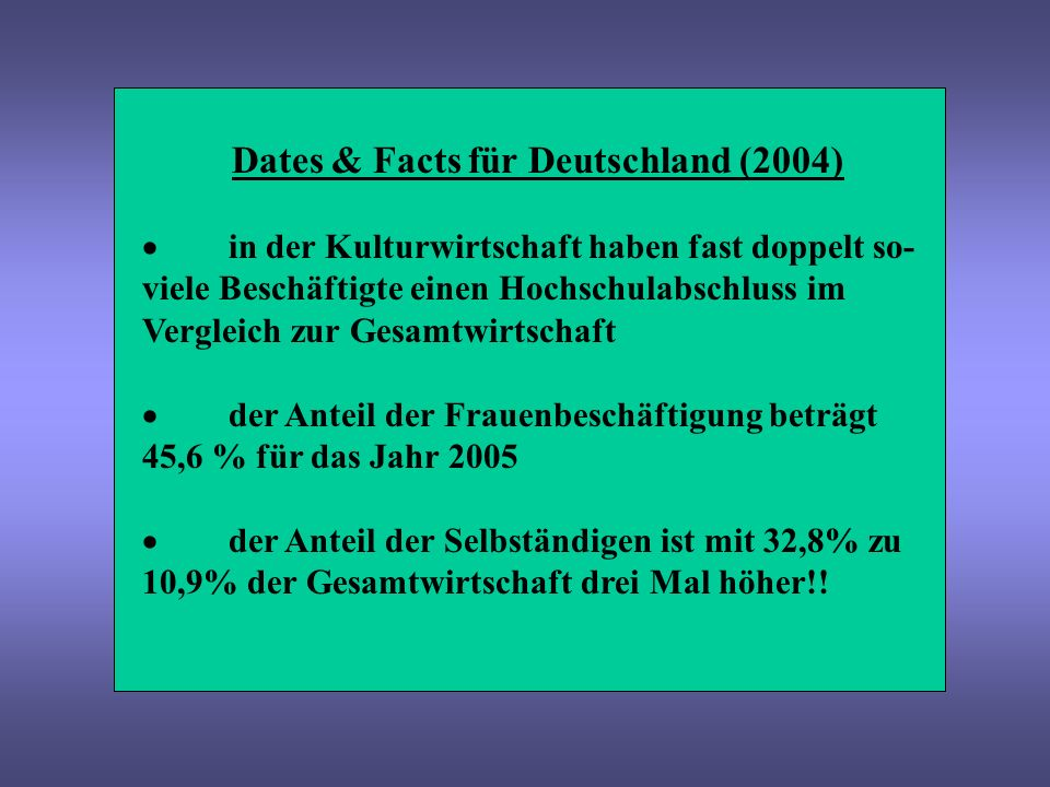 Dates & Facts für Deutschland (2004) 10 von 16 Bundesländern haben einen Kultur- wirtschaftsbericht Kulturwirtschaft + Creative Industries steht auf der Agenda der deutschen EU-Ratspräsident- schaft 2007 ??.