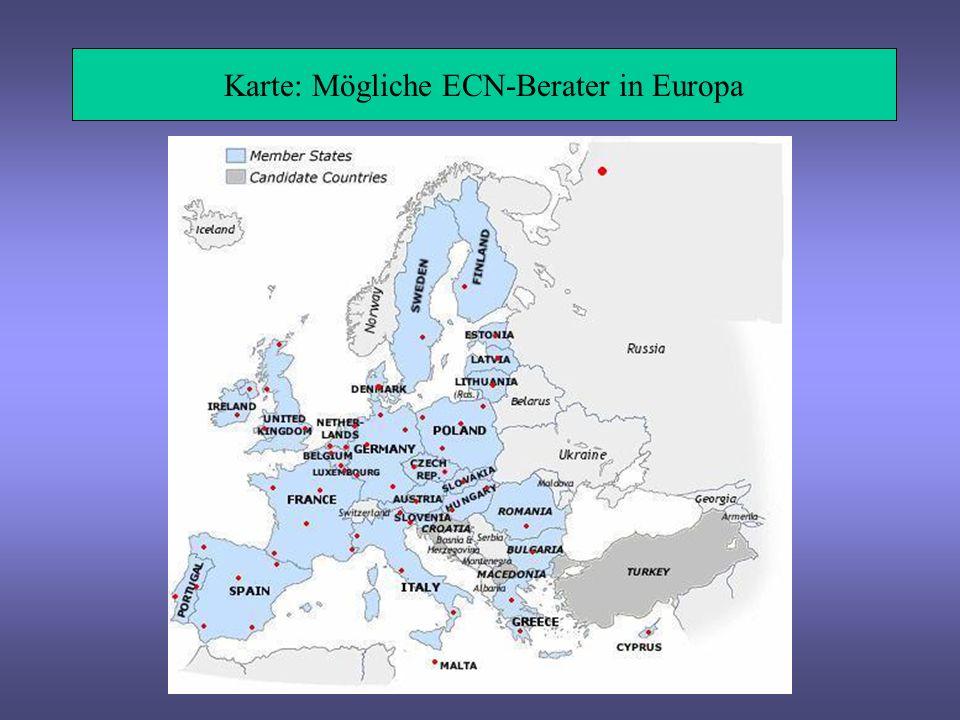 European Culture Network – Aufbau Internetportal ECN-online mit Administration durch DG EAC -mit Job-Angeboten für Arbeitsuchende + Betriebe -mit Informationen zum Stand der Creative Industries in der EU 25+ Aufbau als Netzwerkstruktur mit ECN-Beratern in allen Ländern der EU 25+ 1 ECN Berater pro 10 Millionen Einwohner, max.