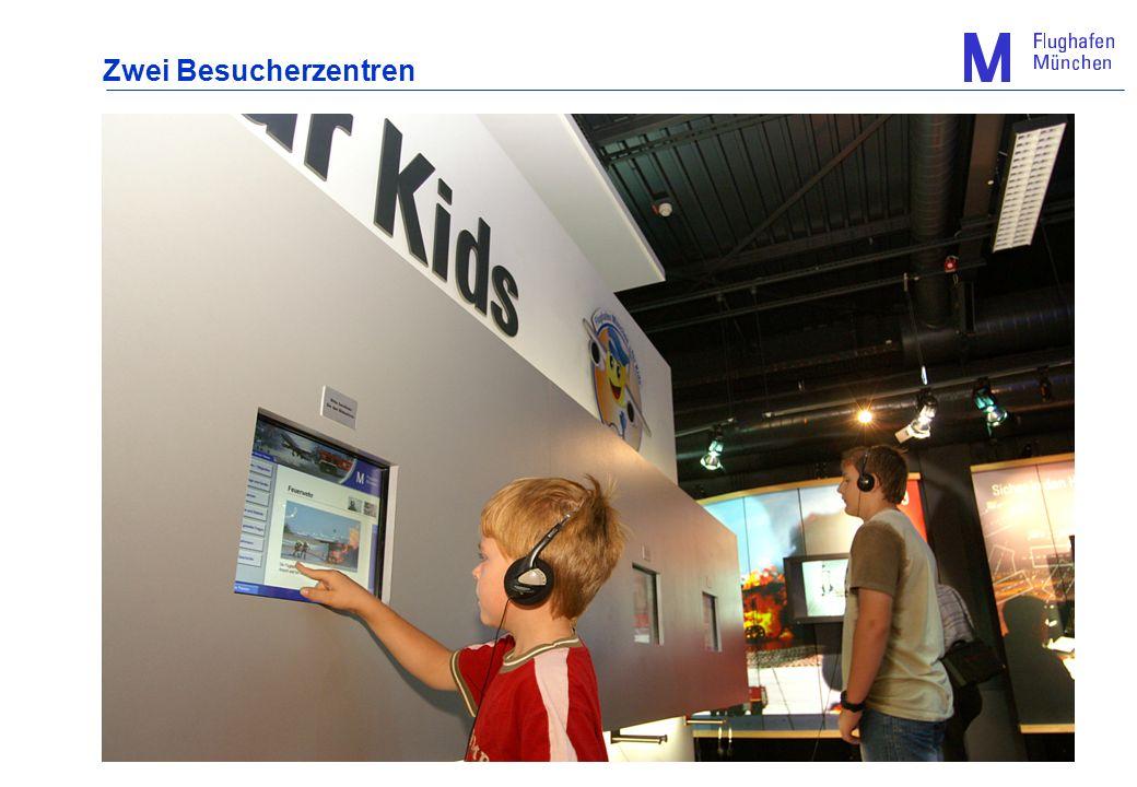 Das Informationszentrum im München Airport Center: 6 Infokioske mit Touchscreen-Bedienung und großen TFT-Filmmonitoren zu interessanten Themen wie z.B.: - Münchens Flugverbindungen in alle Welt - Abläufe bei der Flugzeugabfertigung - Aufgaben der Flughafenfeuerwehr - Schwerpunkt: Flughafen-Ausbau 4 Touchscreen-Filmmonitore mit derzeit je 16 frei wählbaren Filmen