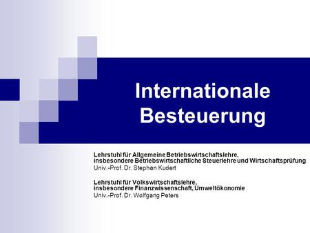 Internationale Besteuerung
