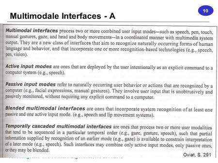 Vorlesung Hard- und Software-Ergonomie, WS 2011/2012 1 Multimodale Interfaces - A 10 Oviat, S. 291.