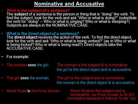 Nominative and Accusative