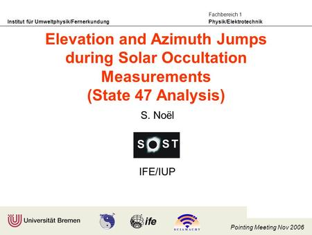 Institut für Umweltphysik/Fernerkundung Physik/Elektrotechnik Fachbereich 1 Pointing Meeting Nov 2006 S. Noël IFE/IUP Elevation and Azimuth Jumps during.