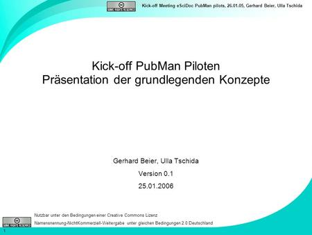 Kick-off PubMan Piloten Präsentation der grundlegenden Konzepte