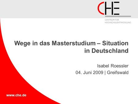 Wege in das Masterstudium – Situation in Deutschland