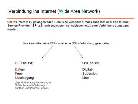 Verbindung ins Internet (Wide Area Network)