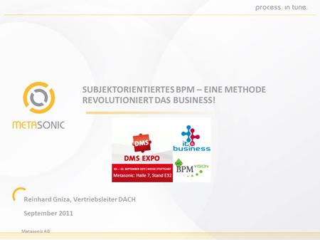 Metasonic AG SUBJEKTORIENTIERTES BPM – EINE METHODE REVOLUTIONIERT DAS BUSINESS! Reinhard Gniza, Vertriebsleiter DACH September 2011.