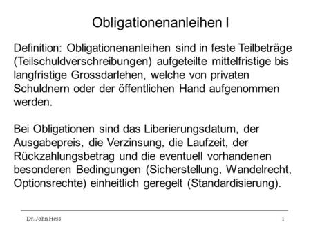 Obligationenanleihen I