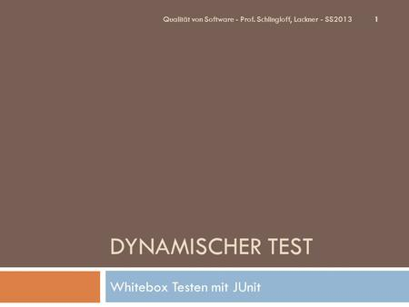 Whitebox Testen mit JUnit