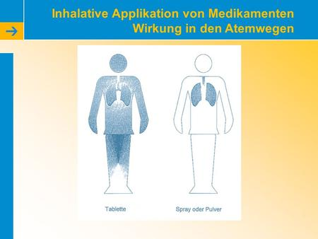 Inhalative Applikation von Medikamenten Wirkung in den Atemwegen